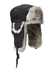 Fur hat TH1108 W Taslan/Rabbit - Black/Grey