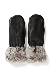 Mitten Cuff W Black Leather/Rabbit - Black/Grey