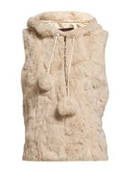 MJM Vest Long Hood Rabbit - Off White
