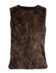 MJM Vest Long V-neck Rabbit - Brown Tip