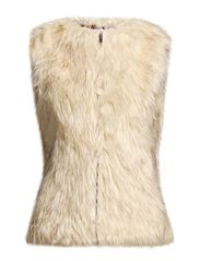 Vest Long V-neck Faux Fur - Off White