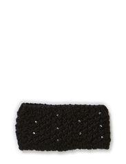 MJM Headband Rhinestone W Knit 50% Wool - Black