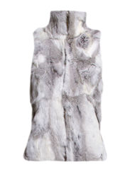MJM Vest Collar Rabbit Bright Greymel. - Bright Greymel.