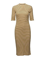 Krown stripe t-shirt dress - HONEY/NAVY/PORCELAIN