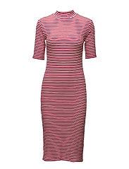 Krown stripe t-shirt dress - HOT PINK/PORCELAIN
