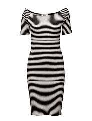 Krown stripe off shoulder dress - BLACK/ PORCELAIN