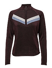 Chloe t-neck - WINE RED/POWDER BLUE