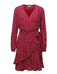 Gabriella print wrap dress - MICRO FLOWER RED