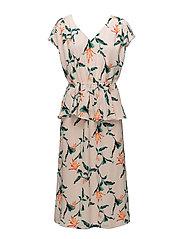 Genesis print long dress - ROSE TROPICAL