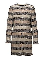 Audrey Stripe Coat - KHAKI