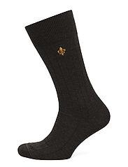Morris Wool Rib Socks - BROWN