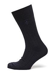 Morris Wool Rib Socks - NAVY