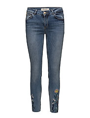 Victoria Flower Jeans - LIGHT BLUE DENIM