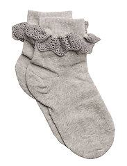 ANKLESOCK WITH TRIMMED LACE - GREY MAL.