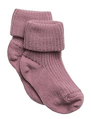 ANKLE WOOL RIB TURN DOWN - ROSE GREY