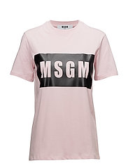T-SHIRT with MSGM LOGO PANEL - LIGHT PINK