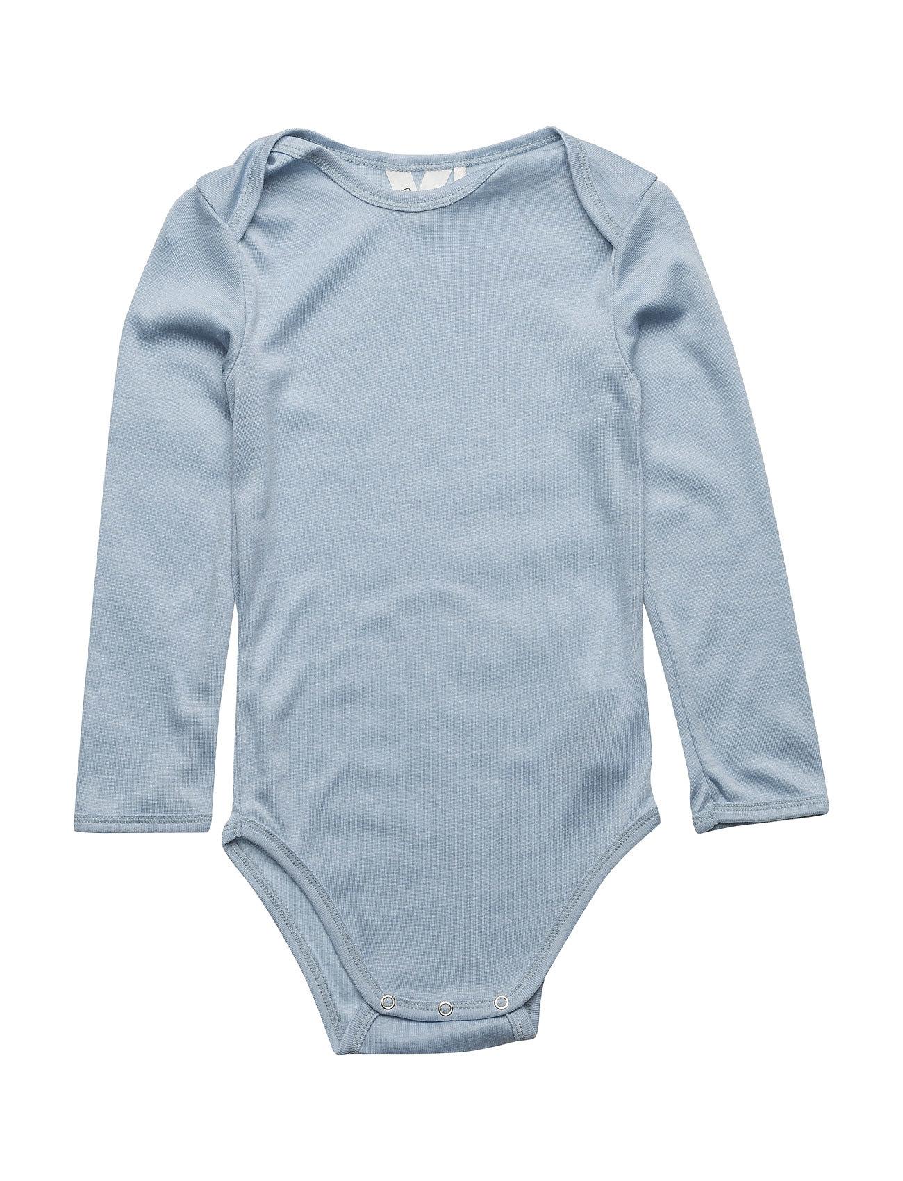 Woolly Silk L/Sl Body M¸sli by Green Cotton Langærmede bodies til Børn i Blå