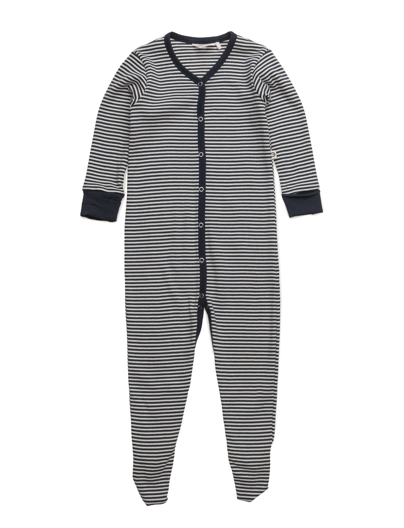 Stripe Bodysuit W/Feet Müsli by Green Cotton Langærmede bodies til Børn i Navy blå