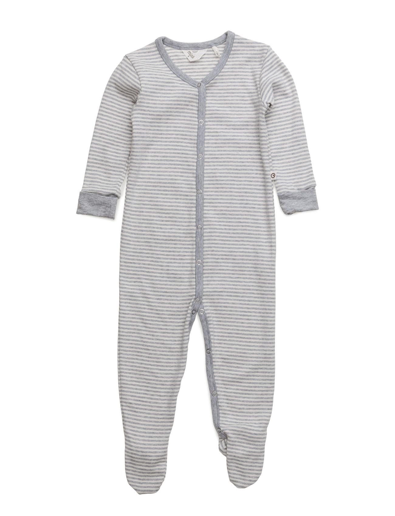 Stripe Bodysuit W/Feet Müsli by Green Cotton Langærmede bodies til Børn i
