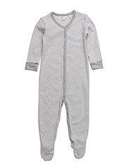 Stripe bodysuit w/feet - PALE GREYMARL
