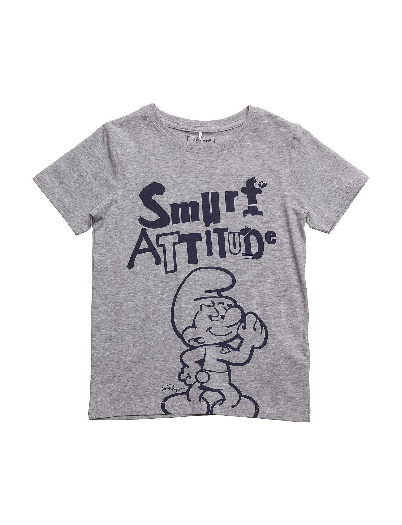 Nitsmurfs Pio Ss Top M Mini name it Kortærmede t-shirts til Børn i Grey Melange