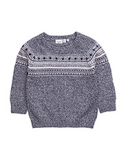 NITWAQARD LS KNIT ONECK MZ - DRESS BLUES