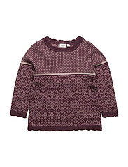 NITWHOOPIMIX WOOL KNIT LS TOP G MINI - PRUNE PURPLE