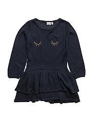 NITETAXI LS KNIT DRESS F MINI - DRESS BLUES