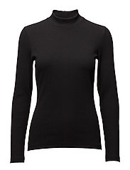 Ladies high neck, Rib - BLACK