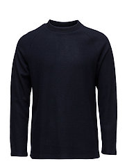BOILED WOOL CREWNECK - NAVY