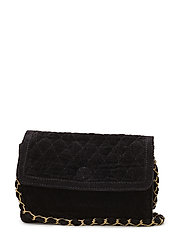 CHECKY QUILTED CROSS BAG - BLACK