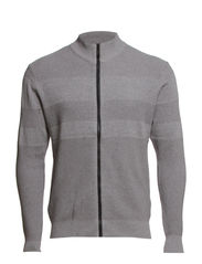 CARDIGAN - STRIPED JACQUARD - Grey Mel