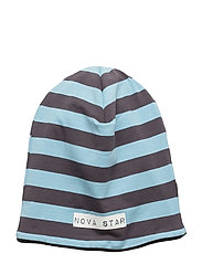 W-Beanie Striped - BLUE/DARKGREY
