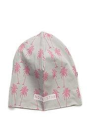 Beanie Pink Palms - GREY