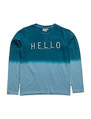 T LS Dip Dyed Hello - PETROL/BLUE
