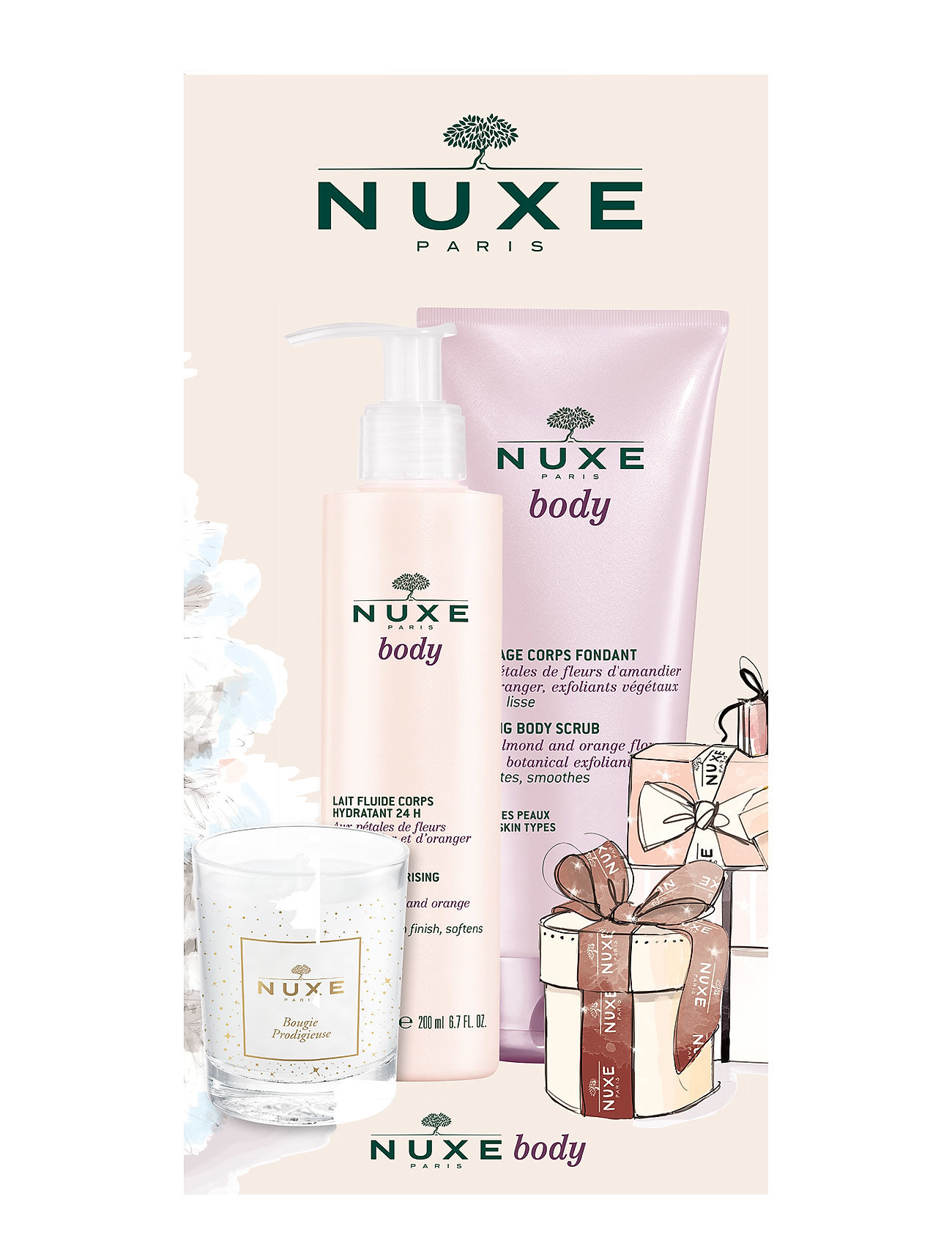 nuxe Nuxe body scrub 200 ml & body lotion 200 ml + fragranced can fra boozt.com dk