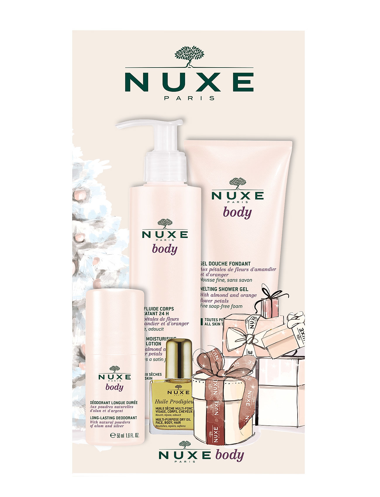 nuxe – Nuxe body shower gel 200 ml, body lotion 200 ml & deodorant på boozt.com dk