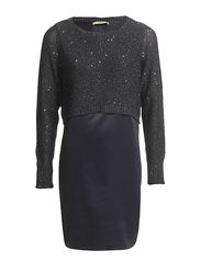 Oasis Mixed Fabric Sequin Dress - Navy