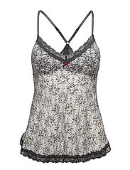 printed lace oddity tank top - LIGHT CHALK