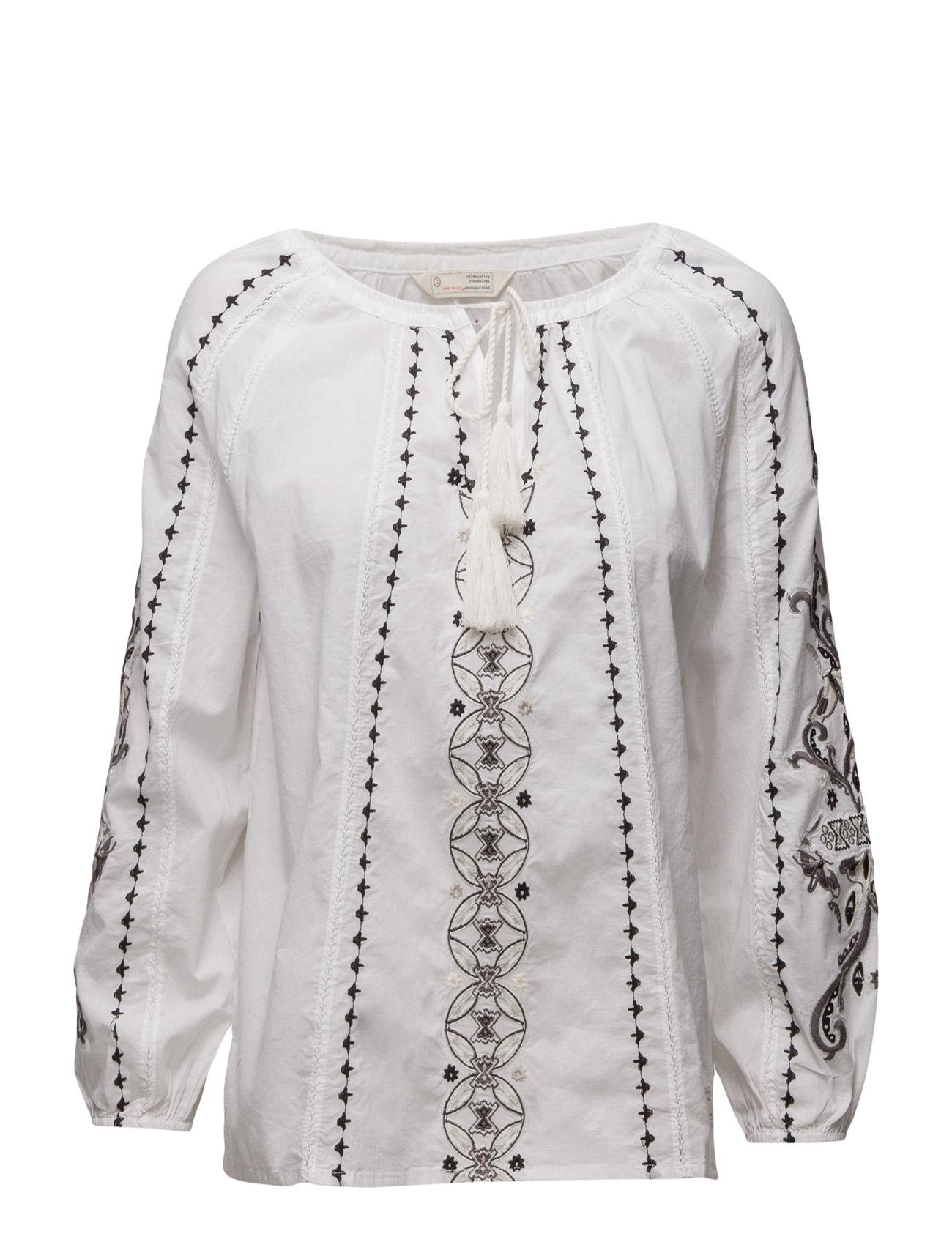 Sparkling Blouse ODD MOLLY Langærmede til Kvinder i Bright White