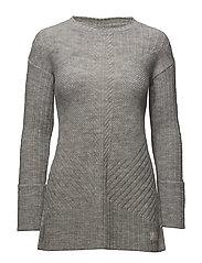 retreat long sweater - LIGHT GREY MELANGE