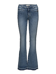 janis stretch flare jean - MID BLUE