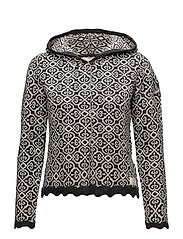 longing hood cardigan - ALMOST BLACK