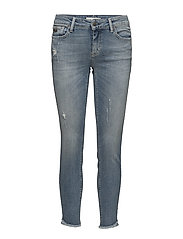 stretch it cropped jean - MID BLUE