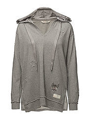 honey sweet long hoodie - LIGHT GREY MELANGE