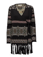 tropical heat wrap cardigan - BLACK