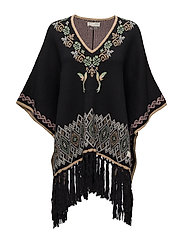 tropical heat poncho - BLACK