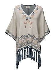 tropical heat poncho - CHALK