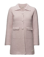 crochet grandma coat - MAUVE CHALK