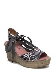 on heel printed espadrillos - ALMOST BLACK